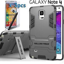 3 in 1 Galaxy Note 4 Case [Kickstand Feature] Armor Hard Bumper Soft Rubber Case