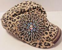 Olive & Pique Rhinestone Flower Cadet Hat -Animal Print w/AB Stones