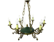 French Empire Pan Chandelier Green Tole Brass 6 arm Lights Hollywood Regency