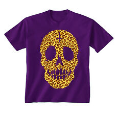 Kids Childrens Leopard Print Skull Face Cross T-shirt 5-13 Years