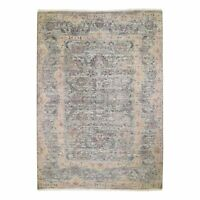 10'x14' Pure Silk With Textured Wool Tribal Design Hand Knotted Rug G48573