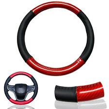 """1X Red Carbon Fiber PU Leather Steering Wheel Cover 15"""" Anti-slip Protector R1"""