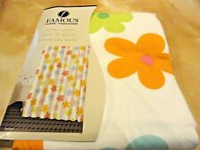 NIP COLORFUL~Fabric SHOWER CURTAIN~Summertime FLOWERS green~orange~blue purple