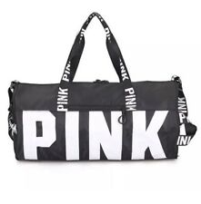 d709f8a6ea3 Victoria s Secret PINK Black Canvas Duffle Bag Yoga Holiday Gym Travel  Weekend