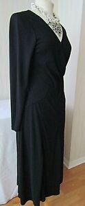 Planet Stylish Long Sleeve Black Wrap Top V Neck Midi Calf Length Dress - 12