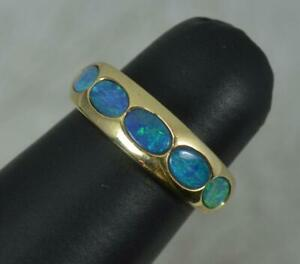 Stylish 9 Carat Gold and Five Opal Doublet Stack Band Ring