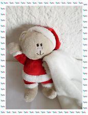 A - Doudou Semi Plat Ours Déguisé en Père Noël Avec Mouchoir Blanc   Kimbaloo