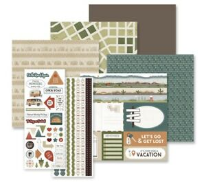 Creative Memories Open Road 2 Theme Pack - Paper and Stickers - Camping Travel