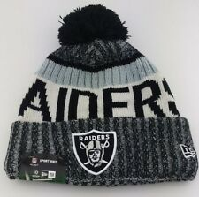 bb75bf40d06 Raiders Cuffed Knit Pom Beanie NFL Winter Hat New Era Side Line