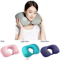 New 1X Portable Self Inflatable U-Shaped Air Pillow Bed Cushion Neck Travel Gift