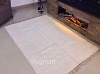 PLAIN WHITE Handmade ECO Friendly Soft Cotton Washable Reversible Rag Rug Runner