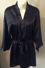 Victoria's Secret Vintage Gold Label Black Open Front Robe Size Small