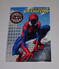 SPIDERMAN MARVEL FOR A SPECIAL GRANDSON BIRTHDAY CARD glow in the dark badge