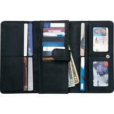 Women Black Solid Leather Wallet w/ RFID Security ,Trifold Clutch ID Card Holder