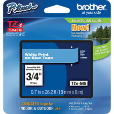 "Brother TZ545 TZe545 3/4"" inch 18mm white on blue TZ tape PT1830 PT1880 P-Touch"