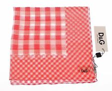 NWT $180 DOLCE & GABBANA D&G Red Checkered Cotton Scarf Wrap 65 cm x 65 cm