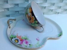 Vintage NORITAKE Japan Hand painted a cup & Tea Snack Plate Golden Rim Floral