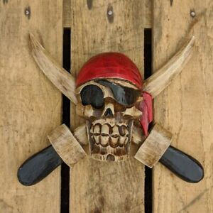 Scary Pirate Cutlass Sign Skull and Cross Bones Jolly Roger