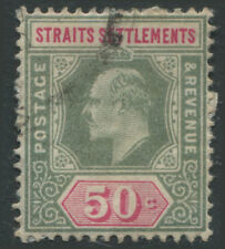 Straits Settlements KEVII 1902 50 cents green & carmine rose used
