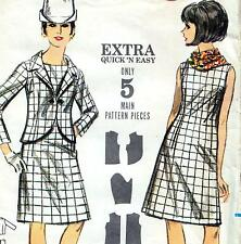 "EASY Vintage 60s Mod DRESS & JACKET Sewing Pattern Bust 36"" Size 12 RETRO A-line"