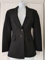 Womens Karen Millen Career Single Breasted Wool Black Fitted Stripe Jacket 12vgc