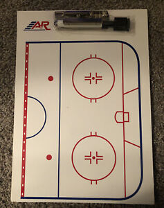 A&R Hockey Coaches Dry Erase Board, Clip Boardand And Pen With Eraser On Cap New
