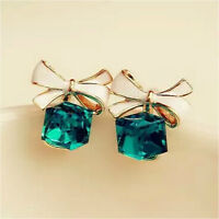 1 Pair New Cute Blue Rhinestone Crystal Bowknot Bow Tie Stud Earrings Jewelry