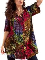 Crinkle Tunika Bluse Shirt multi Gr. 42 44 46 48 50 52 54 56 58 60 66 68 70 72