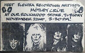 Motley Crue Flyer👿 Rockwood Record Store👿 ORIGINAL Historic document READ
