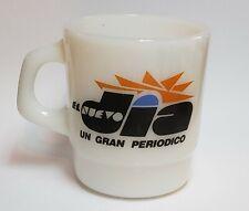 VINTAGE MILK GLASS COFFEE CUP / EL NUEVO DIA / PUERTO RICO / 1980's-90's