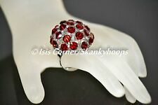 DARK RED LARGE BLING DOME/BUBBLE RHINESTONES (OPEN BACK/ADJUSTABLE) RING