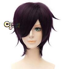 Anime GinTama Takasugi Shinsuke Dark Purple Unisex Bangs Cosplay Wig+Cap