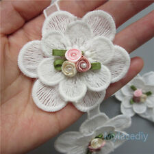 1pcs Vintage Flower Pearl Lace Edge Trim Wedding Ribbon Applique Crochet Patches