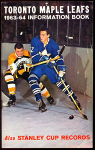 1963-64 MAPLE LEAFS Info Program booklet STANLEY CUP HORTON KEON BOWER Armstrong
