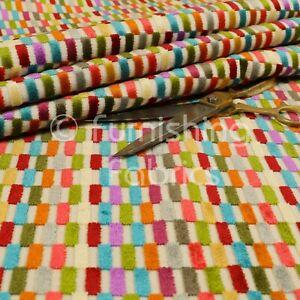 New Modern Bright Multicolours Geometric Block Pattern Velvet Upholstery Fabric