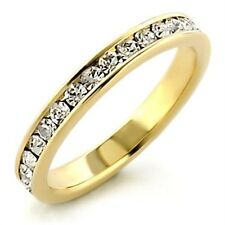 WOMENS OR MENS CHANNEL SET 3MM ETERNITY RING WEDDING BAND GOLD STACKING STEEL