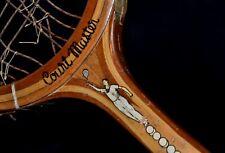 Antique Wood 1930s Bentley-Wilson Court Master Tennis Racket w/ Cool Decals