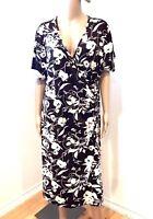 Lane Bryant Womens Brown Floral Faux Wrap Midi Dress Plus 22/24 V-Neck Stretch