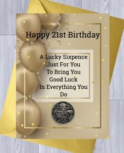 16th 18th 21st BIRTHDAY Gift LUCKY SIXPENCE, BIRTHDAY, Gift Card 30th 40th 50th