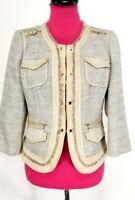 White House Black Market Blazer Jacket Khaki Silver Beige Tweed Fringe Size 8