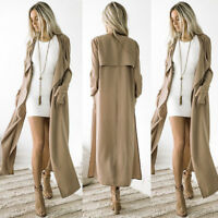 Fashion Women Long Sleeve Cardigan Waterfall Jacket Outwear Long Maxi Coat Tops