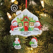 SNOW FAMILY WITH HOUSE FAMILY OF FOUR Personalized Christmas Tree Ornament