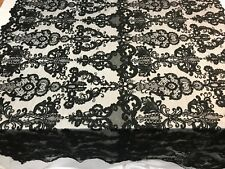 Black Beaded Mesh Lace Fabric By The Yard Bridal LACE/ Geometric Lace/ Veil/