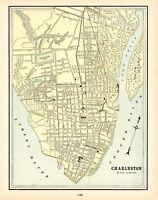 1900 Antique CHARLESTON City Street Map Cram Charleston South Carolina Map 8904