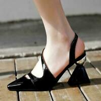 Womens Pointed Toe Leather High Heels Straps Sandals Hollow Formal Shoes Pumps