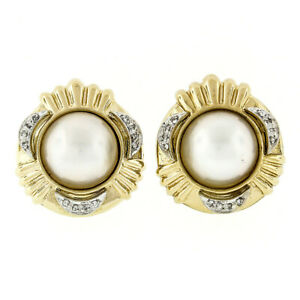 Large 14k Yellow Gold 13.9mm Mabe Pearl & 0.12ctw Round Diamond Button Earrings