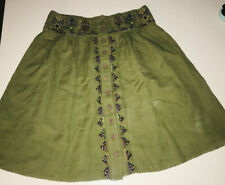 Maeve Anthropologie Women's Skirt Cotton/Linen Embroidered Button Front  Sz 4.