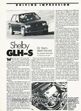 1986 Shelby GLH-S Omni Dodge Original Car Review Report Print Article J776