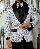 Men Insomnia Manzini Blazer Stage Performer Prom MZE158 White Sequin Satin Shawl