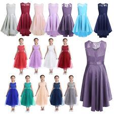 Kids Girls Dance Dress Lace Princess Formal Pageant Wedding Bridesmaid Dancewear